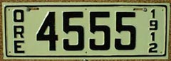 1912 Oregon License Plate