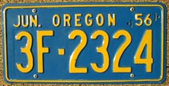 1956 Oregon License Plates